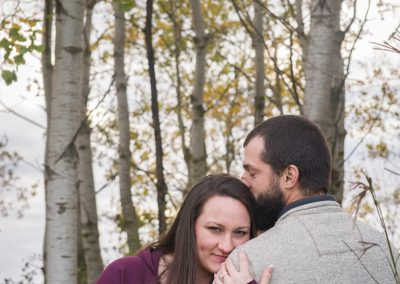 Engagment photography couple in a birch forest