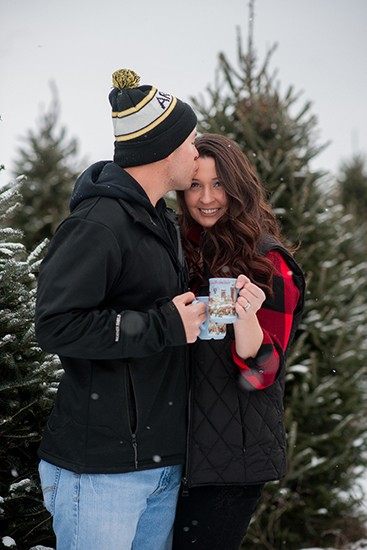 Wisconsin photographer Chrismas tree farm couple session